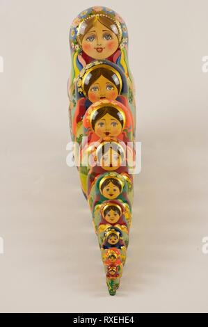 Russische Puppen Matrjoschka, 10 Stück - Stock Photo