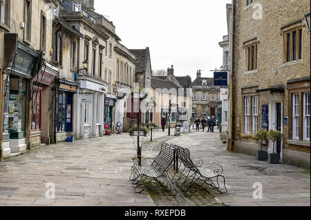 Corsham market town high street in the county of Wiltshire - Stock Photo