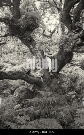 Two children posing in the branches of a tree in Wistman's Wood on Dartmoor, Devon, UK.   Black and white film photograph, circa 1994.  MODEL RELEASED - Stock Photo