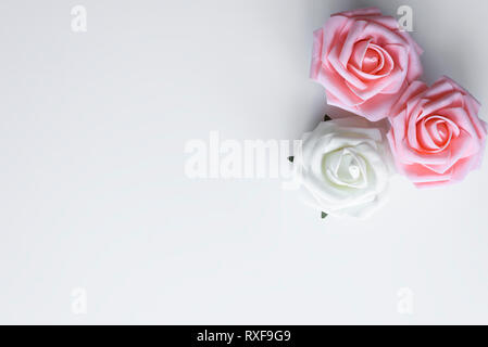 Set up of three roses in pink and white color, arranged as a bouquet decoration and copy space on white table. Valentines day love concept. - Stock Photo