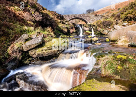 The River Dane at Three Shires Bridge / Three Shire Heads in the Peak District National Park, UK - Stock Photo