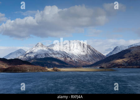 The Pap of Glencoe, Sgorr nam Fiannaidh and Glencoe village from North Ballachulish, Highland, Scotland - Stock Photo