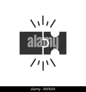 Puzzle compatible icon in flat style. Jigsaw agreement vector illustration on white isolated background. Cooperation solution business concept. - Stock Photo