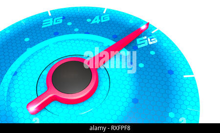 Pressure gauge, speed meter, speed test, internet speed and 5G connection. New technologies, exploit broadband. Technological potentialities. Speed - Stock Photo