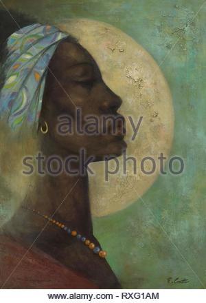 Classical Study #41. Eldzier Cortor; American, 1916-2015. Date: 1979. Dimensions: 55.9 × 40.6 cm (22 × 16 in.). Oil on canvas. Origin: United States. Museum: The Chicago Art Institute. - Stock Photo
