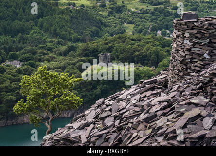 Dolbadarn Castle and Llyn Peris from Dinorwic Slate Quarry, Snowdonia National Park, North Wales, UK