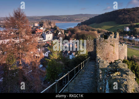 Conwy Castle and Conwy Town from Conwy City Walls, Conwy, North Wales, UK - Stock Photo