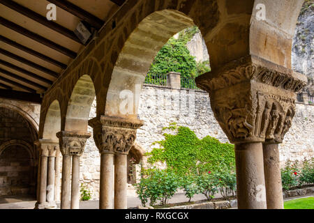 Capitals of the columns in the north wing of the cloister of the Church of San Pedro de la Rua, Saint Peter's C - Stock Photo