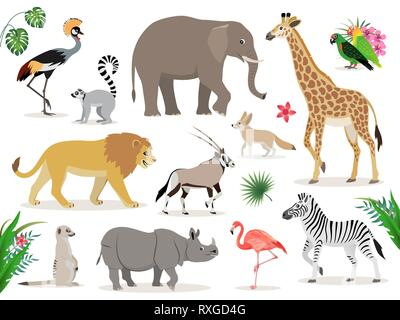 Set of cute African animals icons isolated on white background, crowned crane, lemur, elephant, giraffe, lion, antelope, zebra, suricate, rhinoceros - Stock Photo