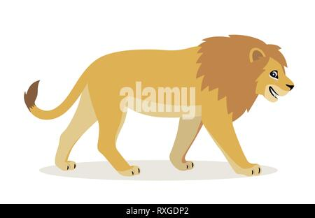 African animal, cute funny lion icon isolated on white background, big wild cat with fluffy mane, vector - Stock Photo
