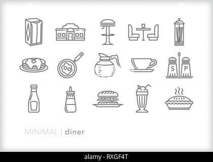 Set of 15 roadside diner food and drink line icons - Stock Photo
