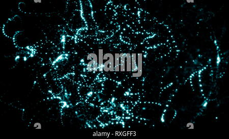 Abstract brilliant background. Glowing particles with Depth of field - Stock Photo