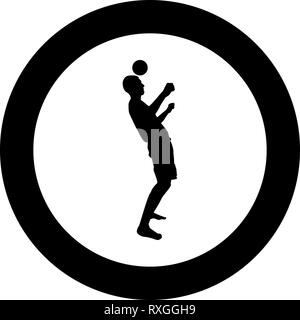Man kicks the ball on head. Soccer player taps ball with his head Football concept Juggling trick with ball icon black color vector in circle round il - Stock Photo