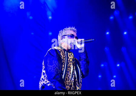 Turin, Italy. 9th Mar, 2019. The Italian rapper Salmo seen performing live at Pala Alpitour in Salmo Music Concert. Credit: Diego Puletto/SOPA Images/ZUMA Wire/Alamy Live News - Stock Photo