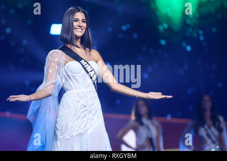 Sao Paulo, Brazil. 9th March 2019. Miss Brazil winner Julia Horta, 24 years old Miss Minas Gerais Be Emotion during the Miss Brasil Be Emotion contest at the São Paulo Expo exhibition center in the south of the city of São Paulo, on Saturday, 09. Credit: William Volcov/ZUMA Wire/Alamy Live News - Stock Photo