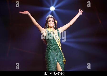 Sao Paulo, Brazil. 9th March 2019. Mayra Dias winner 2018 Be Emotion during contest Miss Brazil Be Emotion in the exhibition center São Paulo Expo in the south region of the city of São Paulo, 09. Credit: William Volcov/ZUMA Wire/Alamy Live News - Stock Photo