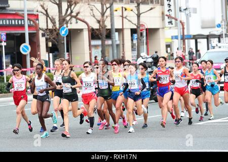 Nagoya, Aichi, Japan. 10th Mar, 2019. General view Marathon : Nagoya Women's Marathon 2019 in Nagoya, Aichi, Japan . Credit: Yohei Osada/AFLO SPORT/Alamy Live News - Stock Photo