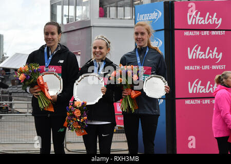 London, UK. 10th Mar 2019. Steph Twell 3rd, Charlotte Purdue 1st and 3rd Charlotte Arter winner of the elite race at The Vitality Big Half 2019 on 10 March 2019, London, UK. Credit: Picture Capital/Alamy Live News - Stock Photo