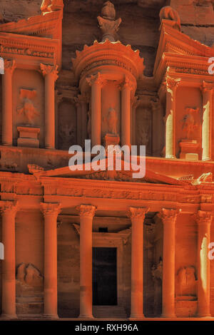 The most beautiful monument in the world. The Treasury in Petra ancient town, Jordan - Stock Photo