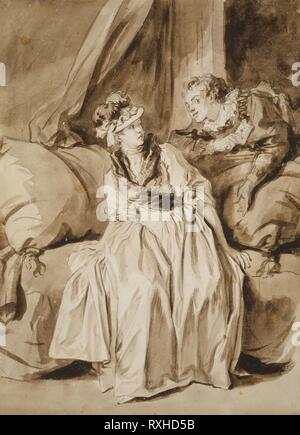The Letter, or The Spanish Conversation. Jean-Honoré Fragonard; French, 1732-1806. Date: 1773-1783. Dimensions: 399 x 290 mm. Brush and brown ink and brush and brown wash, with graphite, on ivory laid paper. Origin: France. Museum: The Chicago Art Institute. - Stock Photo