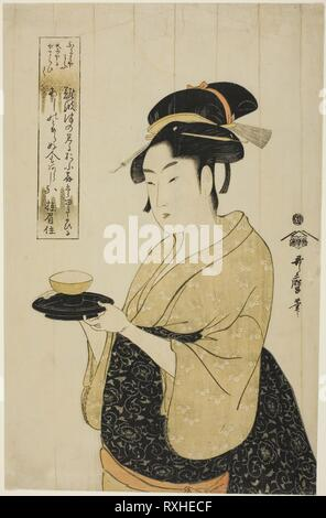 Naniwaya Okita. Kitagawa Utamaro ??? ??; Japanese, 1753 (?)-1806. Date: 1788-1798. Dimensions: 37.1 x 23.6 cm (14 5/8 x 9 5/16 in.). Color woodblock print; oban. Origin: Japan. Museum: The Chicago Art Institute. - Stock Photo