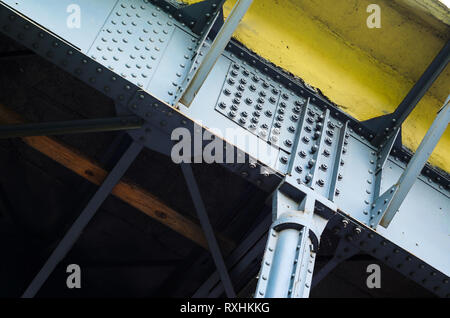 Steel Structure of the Bridge on Bolted and Riveted Joints - Stock Photo