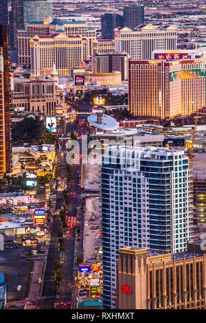 LAS VEGAS, NEVADA - MAY 15, 2018: View across the city of Las Vegas Nevada at night with lights and many hotel resorts and casinos in view - Stock Photo