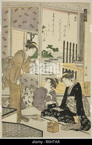 Henjo, from the series 'Six Immortal Poets (Rokkasen)'. Chobunsai Eishi; Japanese, 1756-1829. Date: 1784-1795. Dimensions: 38.1 x 25.4 cm (15 x 10 in.). Color woodblock print; oban. Origin: Japan. Museum: The Chicago Art Institute. - Stock Photo