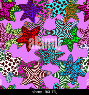 Stars, hand drawn doodle, sketch in naïve, pop art style, seamless pattern design on purple background - Stock Photo