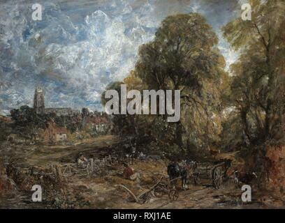 Stoke-by-Nayland. John Constable; English, 1776-1837. Date: 1836. Dimensions: 49 5/8 × 66 1/2 in. (126 × 169 cm). Oil on canvas. Origin: England. Museum: The Chicago Art Institute. - Stock Photo