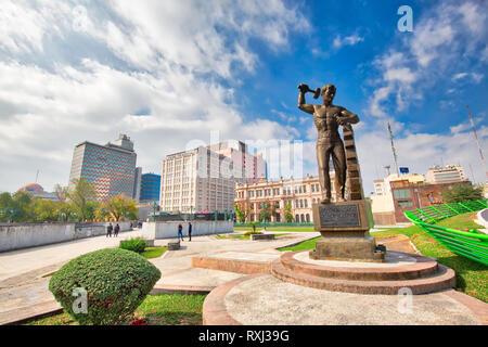 Monterrey, Mexico-11 December, 2018: Monterrey, Monument to Workers (Monumento a los Obreros) at landmark Macroplaza (La Gran Plaza) square in histori - Stock Photo