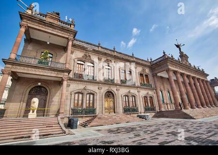Monterrey, Mexico-11 December, 2018: Monterrey, Macroplaza, Government Palace (Palacio del Gobierno) - Stock Photo