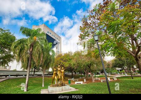 Monterrey, Mexico-11 December, 2018: Monterrey, Landmark Macroplaza (La Gran Plaza) square in historic city center, the seventh largest plaza in the w - Stock Photo