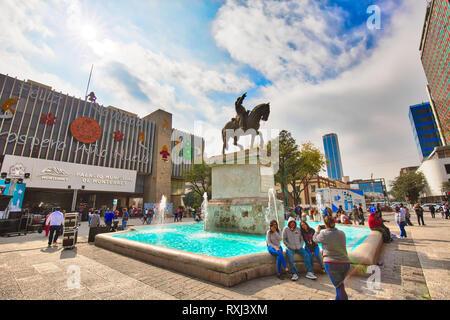 Monterrey, Mexico-9 December, 2018: Monterrey historic city center, Zaragoza Plaza and Municipal Palace (Palacio Municipal) located close to landmark  - Stock Photo