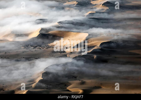 Fog hangs low over the sand dunes of southern namibia. - Stock Photo