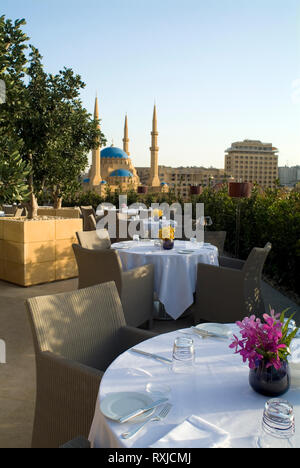 The view over the Mohammad al-Amin Mosque from restaurant Indigo on the Roof at Le Gray Hotel. The hotel was a long time in the making; construction i - Stock Photo