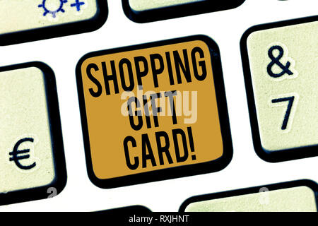 Handwriting text Shopping Gift Card. Concept meaning piece of paper that you buy at shop and give to someone Keyboard key Intention to create computer - Stock Photo