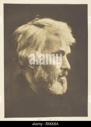 Thomas Carlyle. Julia Margaret Cameron; English, 1815-1879. Date: 1867. Dimensions: 24.8 × 18.4 cm (image); 45.2 × 36.6 cm (album page). Photogravure, plate 8 from the album 'Lord Tennyson and his Friends' (1893), edition 138/140. Origin: England. Museum: The Chicago Art Institute. - Stock Photo