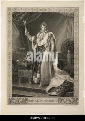 Napoleon the Great. Auguste Gaspard Louis Desnoyers (French, 1779-1857); after François Gérard (French, 1770-1837). Date: 1808. Dimensions: 568 × 415 mm (image); 765 × 555 mm (sheet). Engraving in black on cream laid paper. Origin: France. Museum: The Chicago Art Institute. Author: Auguste Gaspard Louis Boucher Desnoyers. - Stock Photo