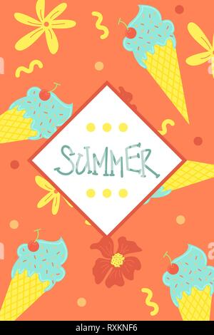 A bright summer card. Greeting card . Ice cream. Vector design concept for summer party. - Stock Photo