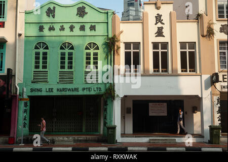 08.03.2019, Singapore, Republic of Singapore, Asia - A view of old buildings along South Bridge Road in the city centre. - Stock Photo