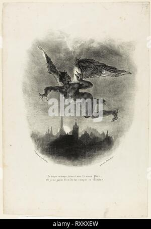 Mephistopheles Flying. Eugène Delacroix; French, 1798-1863. Date: 1828. Dimensions: 270 × 230 mm (image); 429 × 290 mm (sheet). Lithograph in black on white wove paper. Origin: France. Museum: The Chicago Art Institute. - Stock Photo