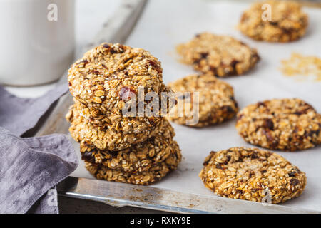 Oatmeal cookies with dates. Healthy vegan dessert concept. - Stock Photo