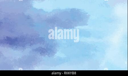 Hand Painted Art Of Watercolor Blue Color Paint On Watercolor Paper - Stock Photo
