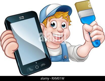 Painter Decorator Handyman Phone Concept - Stock Photo