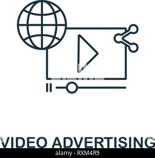 Video Advertising icon thin line style. Symbol from online marketing icons collection. Outline video advertising icon for web design, apps, software - Stock Photo
