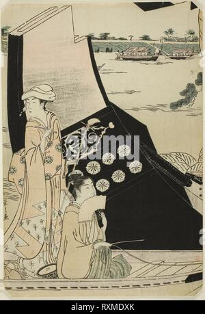 Women on a Pleasure Boat. Chobunsai Eishi; Japanese, 1756-1829. Date: 1785-1795. Dimensions: 14 1/4 x 9 7/8 in. Color woodblock print; left sheet of oban pentaptych. Origin: Japan. Museum: The Chicago Art Institute. - Stock Photo