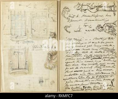 Letter: Stop Thief. George Cruikshank; English, 1792-1878. Date: 1851. Dimensions: 228 × 144 (each sheet). Signed letter in pen and brown ink, with several sketches in pen and brown ink, and one entire sheet of sketches in graphite and watercolor, signed in pen and black ink, on two sheets of cream wove paper. Origin: England. Museum: The Chicago Art Institute. - Stock Photo