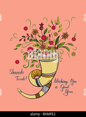 Rosh hashanah - Jewish New Year card template with shofar and flowers. Hand drawn vector illustration. - Stock Photo