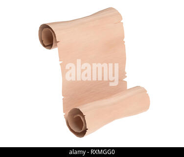 Parchment scroll. Blank paper. 3d rendering illustration isolated - Stock Photo